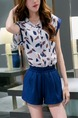 White and Blue Two Piece Shirt Shorts Plus Size Jumpsuit for Casual Party Special Offer