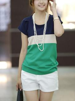 Blue and Green T-shirt Plus Size Top for Casual