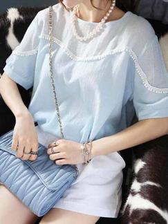 Blue and White Two Piece Shirt Shorts Plus Size Jumpsuit for Casual Special Offer