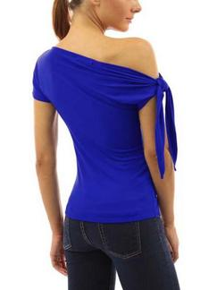 Blue T-Shirt One Shoulder Plus Size Top for Casual Party  Special Offer