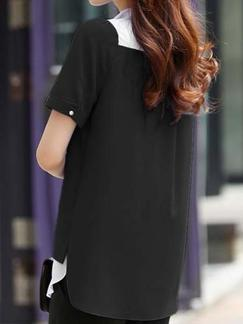Black Blouse Plus Size Top for Casual Office