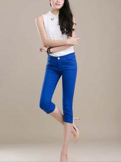 Blue Three Quarter Pants for Casual Office Special Offer