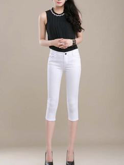White Three Quarter Pants for Casual Office Special Offer