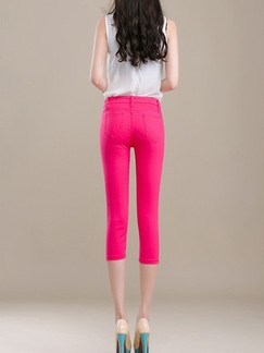 Red Three Quarter Pants for Casual Office Special Offer