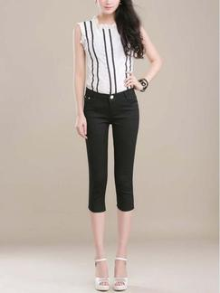 Black Three Quarter Pants for Casual Office Special Offer