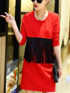 Red and Black Shift Above Knee Plus Size Long Sleeve Dress for Casual Party Evening Special Offer