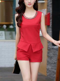 Red Two Piece Shirt Shorts Plus Size Jumpsuit for Casual Office Evening