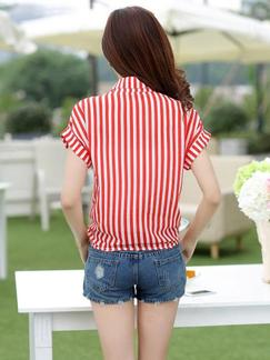 Red and White Blouse Plus Size Top for Casual