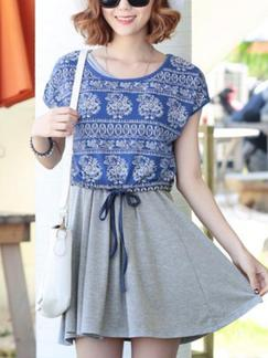 Blue and Grey Two Piece Above Knee Fit  Flare Dress for Casual Beach Special Offer