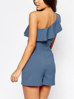 Blue One Piece One Shoulder Shorts Plus Size Jumpsuit for Casual Party Evening Special Offer