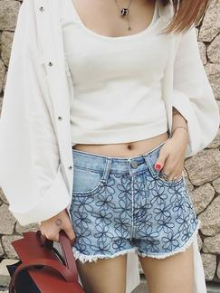 Blue Printed Denim Shorts for Casual Special Offer