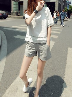 Beige and Grey Two Piece Shirt Shorts Jumpsuit for Casual
