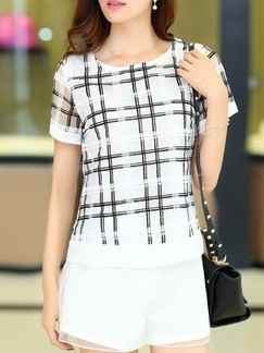 Black and White Two Piece Shirt Shorts Plus Size Jumpsuit for Casual Evening Office