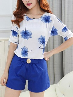 Blue and White Two Piece Shirt Shorts Floral Jumpsuit for Casual Evening Office