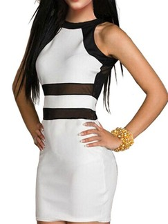 White and Black Bodycon Above Knee Plus Size Dress for Cocktail Evening Party Special Offer
