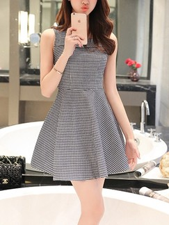 Grey Fit & Flare Above Knee Plus Size Dress for Casual Evening Party