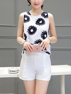 White and Black Two Piece Shirt Shorts Plus Size Floral Jumpsuit for Casual Evening Office