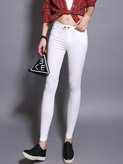 White Long Plus Size Pants for Casual Office Special Offer