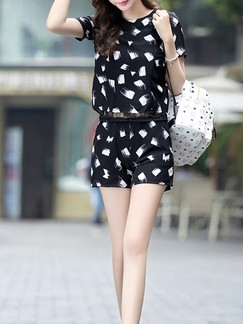 White and Black Two Piece Shirt Shorts Plus Size Jumpsuit for Casual Evening Special Offer