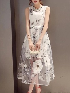 White and Grey Floral Maxi Fit & Flare Dress for Casual Evening Party