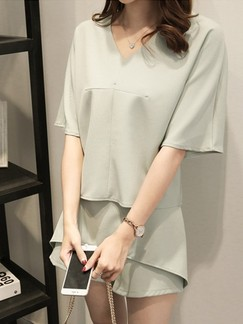 Green Two Piece Shirt Shorts Plus Size Jumpsuit for Casual Office