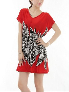 Red and White Shift Above Knee Dress for Casual