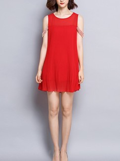Red Shift Above Knee Plus Size Dress for Casual Party Evening