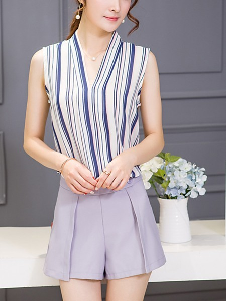 White Grey and Blue Two Piece Shirt Shorts V Neck Wide Leg Plus Size Jumpsuit for Casual Office Evening Special Offer