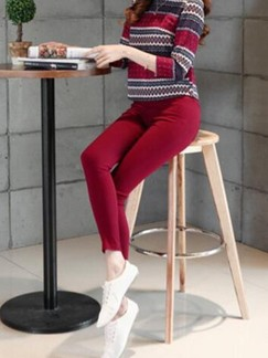 Red Long Plus Size Pants for Casual Office Special Offer