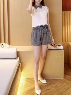 White and Grey Two Piece Blouse Shorts Jumpsuit for Casual Office Evening  Special Offer