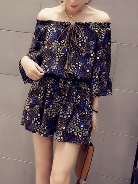 9d0a294042b5 Blue and Black One Piece Off Shoulder Printed Shorts Long Sleeve Jumpsuit  for Casual Party Evening