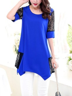 Blue Shirt Plus Size Lace Top for Casual Evening