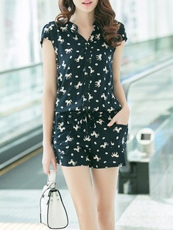 Black One Piece Printed Shorts Jumpsuit for Casual Office