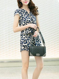 Leopard One Piece Printed Shorts Plus Size Jumpsuit for Casual Office