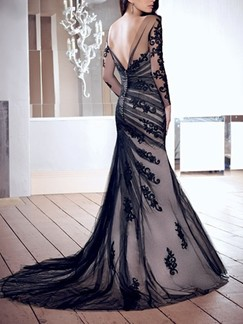 Black and Grey Lace Long Sleeve Bodycon Maxi Dress for Prom Cocktail