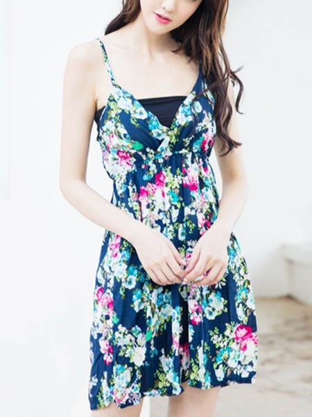 Blue and White Slip Above Knee Fit & Flare Floral Dress for Casual Beach