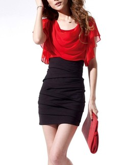 Red and Black Bodycon Above Knee Plus Size Dress for Cocktail Party Evening