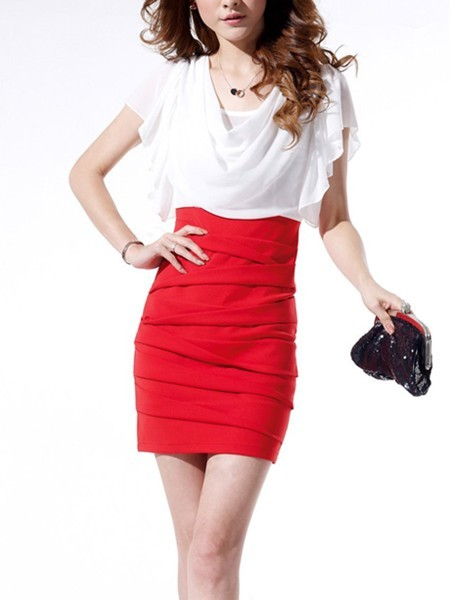 Red And White Bodycon Above Knee Plus Size Dress For Cocktail Party