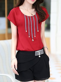 Red and Black Two Piece Shirt Shorts Plus Size Jumpsuit for Casual Office Evening