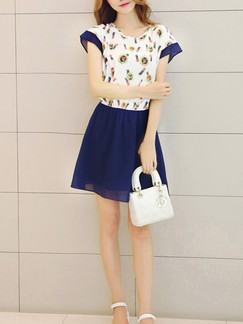 Blue and White Fit  Flare Above Knee Dress for Casual Special Offer