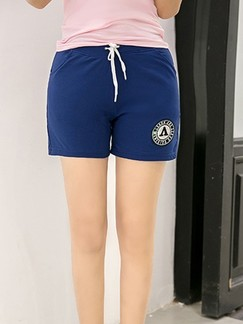 Blue Plain Plus Size Shorts for Casual