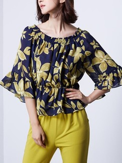 Blue and Yellow Blouse Plus Size Floral Top for Casual Party  Special Offer