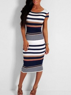 White and Blue Bodycon Knee Length Plus Size Dress for Party Evening Cocktail Special Offer