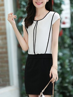 White and Black Above Knee Sheath Plus Size Dress for Casual Office Evening Special Offer