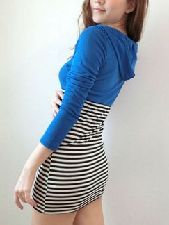Blue and White Bodycon Above Knee Long Sleeve V Neck Dress for Casual Party Evening