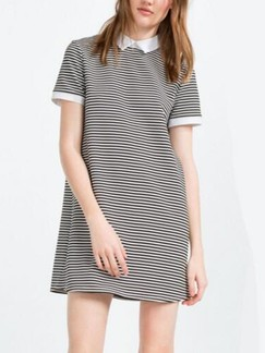Black and White Shift Shirt Above Knee Plus Size Dress for Casual