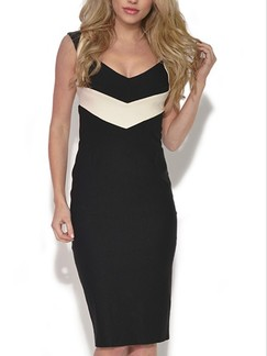 Black and Beige Bodycon Knee Length Above Knee Plus Size Dress for Cocktail Party Evening Special Offer