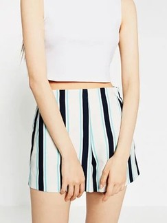 White and Black Printed Shorts for Casual
