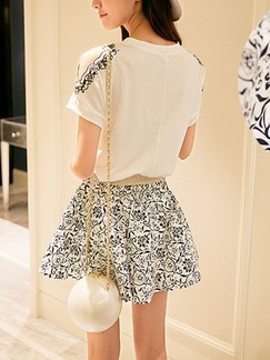 White and Black Fit  Flare Above Knee Floral Plus Size Dress for Casual Party Special Offer