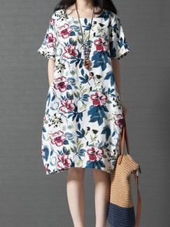 White Knee Length Shift Floral Plus Size Dress for Casual